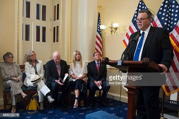 Senator Barbar Boxer Sen Patrick Leahy and Sen Richard Blumenthal with actresses Blythe Danner and Gwyneth Paltrow listen as Sen Jon Tester speaks...