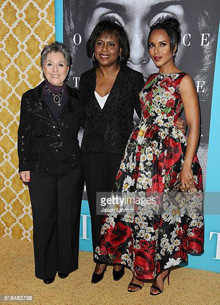 Senator Barbara Boxer Anita Hill and actress Kerry Washington attend the premiere of 'Confirmation' at Paramount Theater on the Paramount Studios lot...