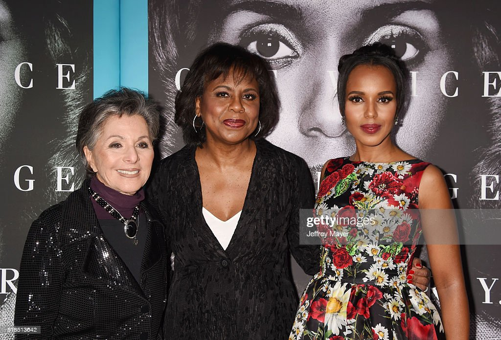 US Senator Barbara Boxer attorney Anita Hill and actress Kerry Washington arrive at the Premiere Of HBO Films' 'Confirmation' at Paramount Theater on...
