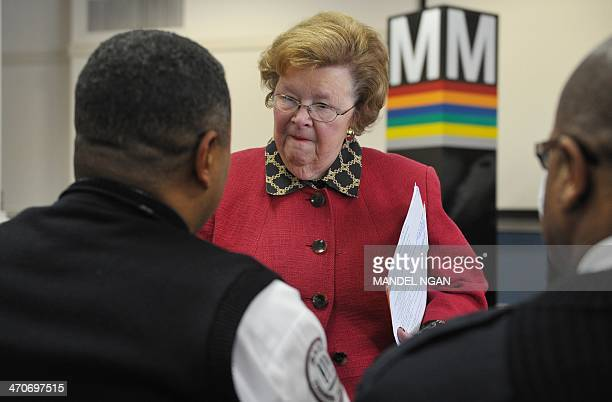 Senator Barbara Mikulski DMD chats with members of the Transit Police after an event to announce legislaltive reforms to help combat cell phone theft...
