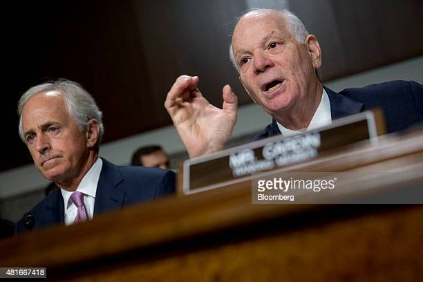 Senator Ben Cardin a Democrat from Maryland right makes an opening statement during a Senate Foreign Relations Committee hearing with Senator Bob...