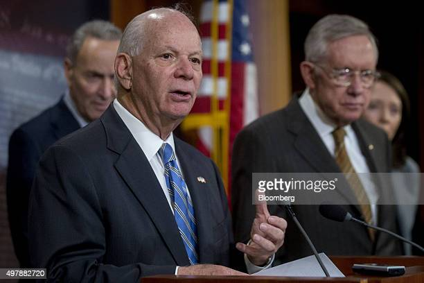 Senator Ben Cardin a Democrat from Maryland second left speaks during a news conference with Senator Charles Schumer a Democrat from New York left...
