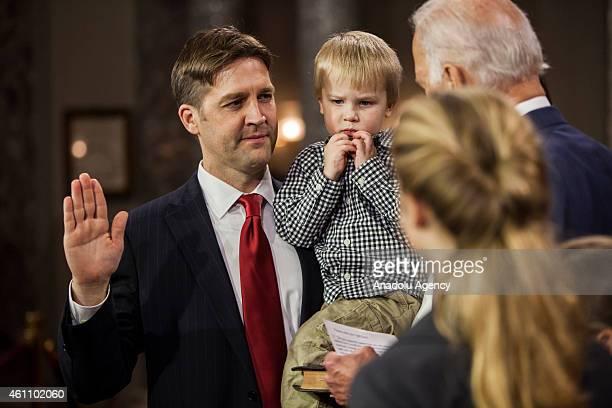 Senator Ben Sasse reenacts his swearing in to the 114th US Congress with Vice President Joe Biden in Washington DC on January 6 2015