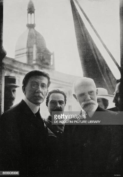 Senator Beranger on the left attending the parade of the procession from the balcony of Credito Italiano Bank celebrations for the French national...