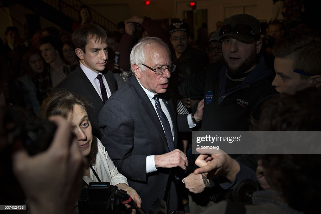 Senator Bernie Sanders an independent from Vermont and 2016 Democratic presidential candidate center greets attendees while leaving a campaign rally...
