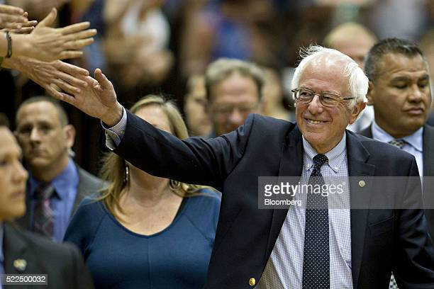 Senator Bernie Sanders an independent from Vermont and 2016 Democratic presidential candidate arrives to speak during a campaign event at Penn State...