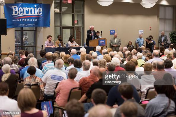 Senator Bernie Sanders an Independent from Vermont and 2016 US presidential candidate speaks during a town hall meeting in Davenport Iowa US on...