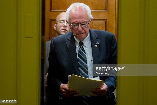 Senator Bernie Sanders an independent from Vermont and 2016 Democratic presidential candidate waits for an elevator door in the basement of the US...