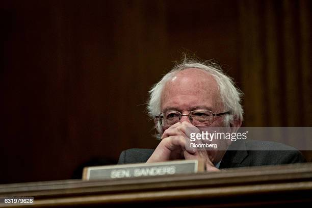Senator Bernie Sanders an independent from Vermont listens during a Senate Health Education Labor and Pensions Committee confirmation hearing for...