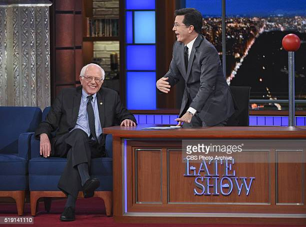 Senator Bernie Sanders makes a surprise appearance on The Late Show with Stephen Colbert Thursday March 31 2016 on the CBS Television Network