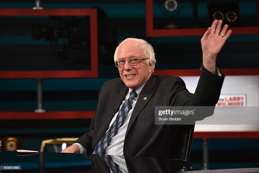 Senator <a gi-track='captionPersonalityLinkClicked' href=/galleries/search?phrase=Bernie+Sanders&family=editorial&specificpeople=2908340 ng-click='$event.stopPropagation()'>Bernie Sanders</a> on Comedy Central's 'The Nightly Show With Larry Wilmore' on January 5, 2016 in New York City.