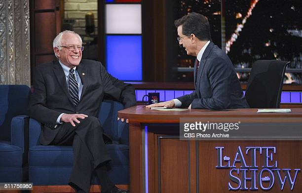 Senator Bernie Sanders on The Late Show with Stephen Colbert Wednesday February 10 2016 on the CBS Television Network