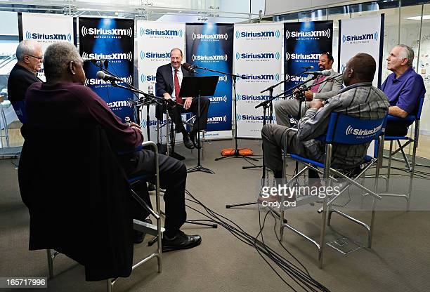 Senator Bill Bradley hosts a special edition of his SiriusXM show 'American Voices' featuring his 197273 NBA Champion New York Knicks teammates Phil...