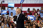 Senator Bill Nelson a Democrat from Florida gestures while introducing Hillary Clinton presumptive 2016 Democratic presidential nominee not pictured...