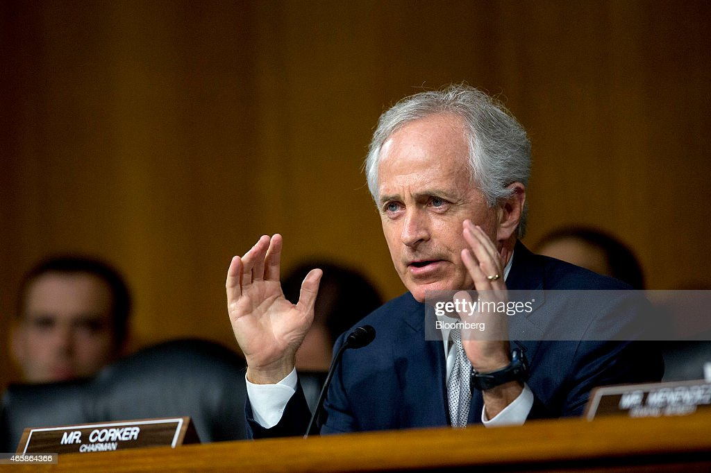 Senator Bob Corker a Republican from Tennessee and chairman of the Senate Foreign Relations Committee questions witnesses during a Senate Foreign...