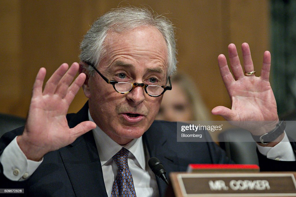 Senator Bob Corker a Republican from Tennessee and chairman of the Senate Foreign Relations Committee questions Janet Yellen chair of the US Federal...