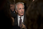 Senator Bob Corker a Republican from Tennessee and chairman of the Senate Foreign Relations Committee speaks to members of the media as he arrives to...