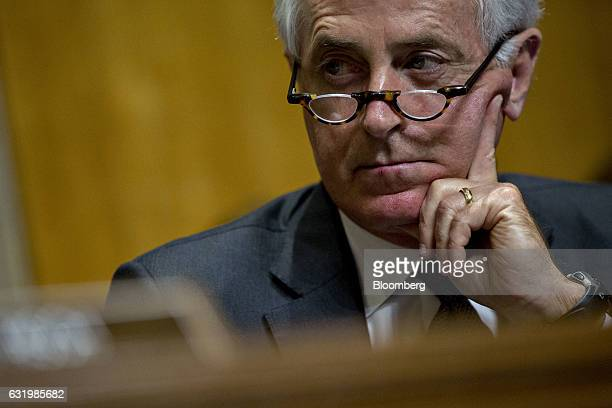 Senator Bob Corker a Republican from Tennessee and chairman of the Senate Foreign Relations Committee listens during a confirmation hearing for Nikki...