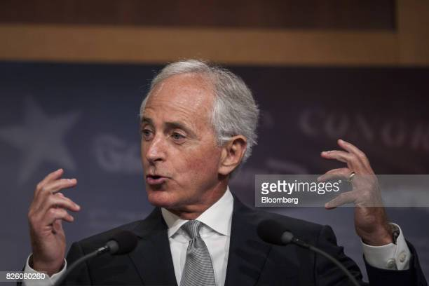 Senator Bob Corker a Republican from Tennessee and chairman of the Senate Foreign Relations Committee speaks during a press conference in Washington...