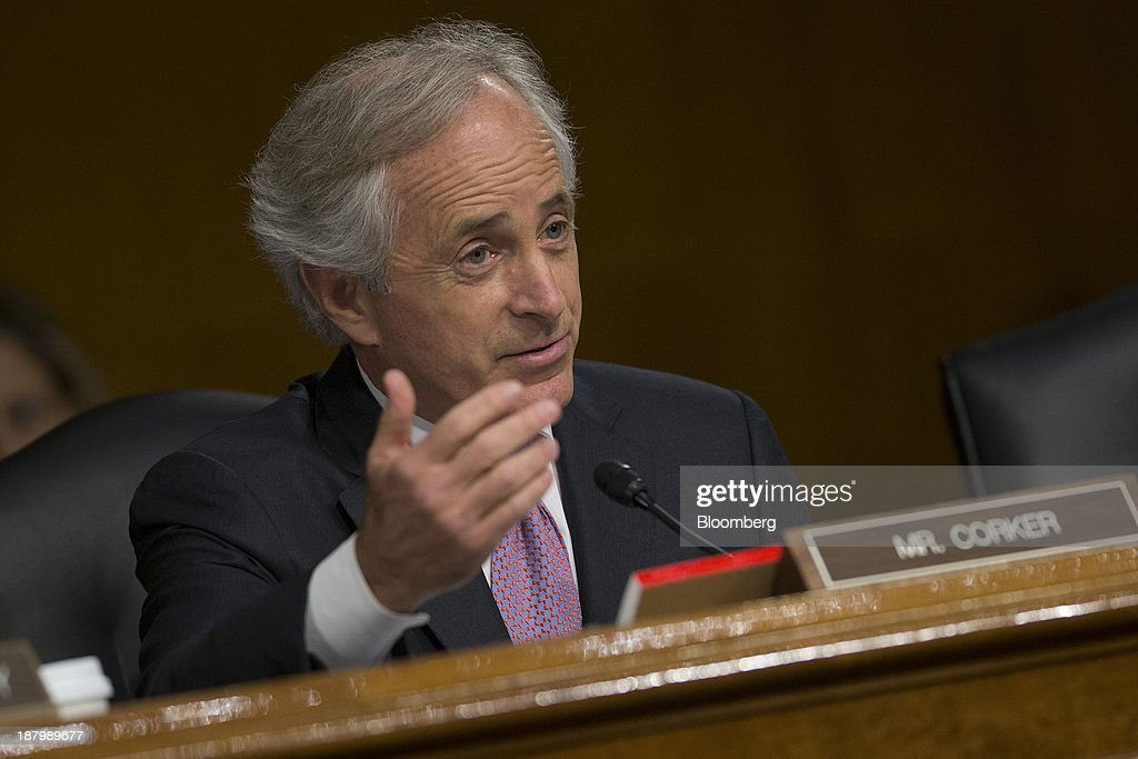Senator <a gi-track='captionPersonalityLinkClicked' href=/galleries/search?phrase=Bob+Corker&family=editorial&specificpeople=3986296 ng-click='$event.stopPropagation()'>Bob Corker</a>, a Republican from Tennessee, questions Janet Yellen, vice chairman of the U.S. Federal Reserve and U.S. President Barack Obama's nominee as chairman of the Federal Reserve, not pictured, during a Senate Banking Committee confirmation hearing in Washington, D.C., U.S., on Thursday, Nov. 14, 2013. Yellen said she is committed to promoting a strong economic recovery and will ensure monetary stimulus isn't removed too soon. Photographer: Andrew Harrer/Bloomberg via Getty Images