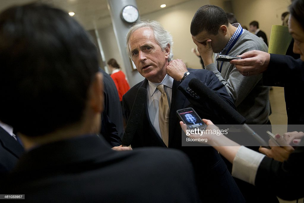 Senator <a gi-track='captionPersonalityLinkClicked' href=/galleries/search?phrase=Bob+Corker&family=editorial&specificpeople=3986296 ng-click='$event.stopPropagation()'>Bob Corker</a>, a Republican from Tennessee, speaks to reporters after voting on the nomination of Janet Yellen as chairman of the U.S. Federal Reserve in Washington, D.C., U.S., on Monday, Jan. 6, 2014. Yellen, currently Fed vice chairman, won U.S. Senate confirmation to become the 15th chairman of the Federal Reserve and the first woman to head the central bank in its 100-year history. Photographer: Andrew Harrer/Bloomberg via Getty Images