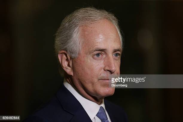 Senator Bob Corker a Republican from Tennessee speaks to the media in the lobby at Trump Tower in New York US on Tuesday Nov 29 2016 in New York City...
