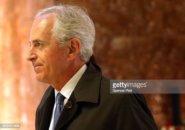 Senator Bob Corker arrives at Trump Tower on November 29 2016 in New York City Presidentelect Donald Trump and his transition team are in the process...