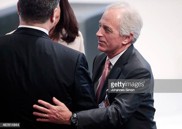 US senator Bob Corker greets Ukranian President Petro Poroshenko during the 51st Munich Security Conference on February 6 2015 in Munich Germany...
