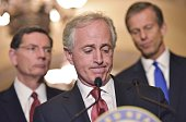 Senator Bob Corker RTN chairman of the Senate Foreign Relations Committee speaks at the US Capitol on March 3 2015 in Washington DC AFP PHOTO/MANDEL...