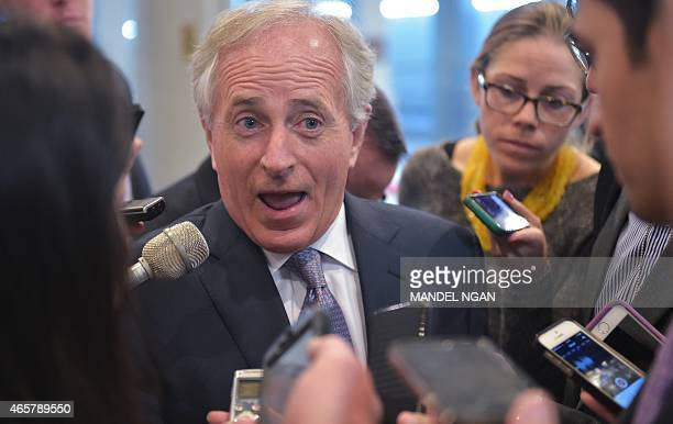 Senator Bob Corker RTN speaks to reporters at the US Capitol on March 10 2015 in Washington DC AFP PHOTO/MANDEL NGAN