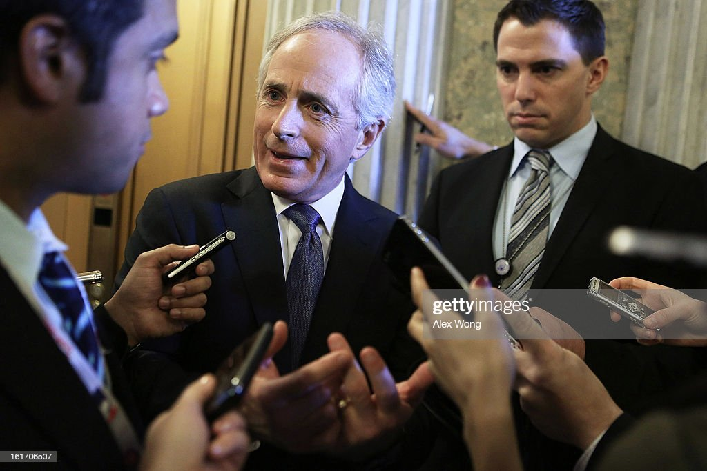 U.S. Senator <a gi-track='captionPersonalityLinkClicked' href=/galleries/search?phrase=Bob+Corker&family=editorial&specificpeople=3986296 ng-click='$event.stopPropagation()'>Bob Corker</a> (R-TN) speaks to members of the press at the Capitol February 14, 2013 on Capitol Hill in Washington, DC. The GOP senators are working to hold up the confirmation vote on former Sen. Chuck Hagel (R-NE) to be the next secretary of defense until they get more information from the Obama Administration about last fall's attack on the U.S. consulate in Libya.