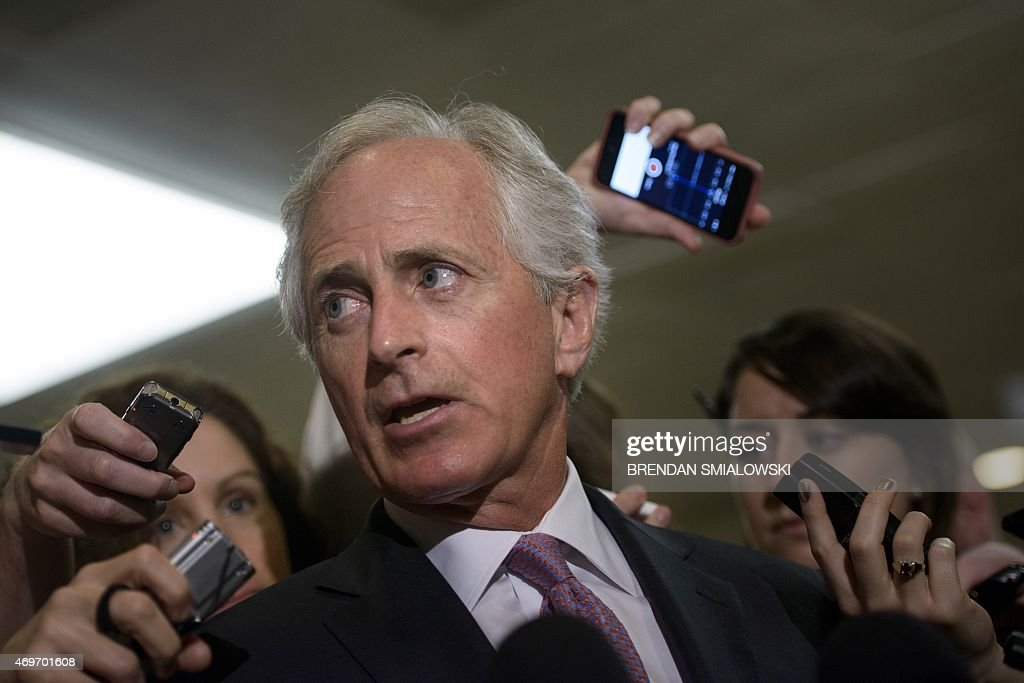 Senator <a gi-track='captionPersonalityLinkClicked' href=/galleries/search?phrase=Bob+Corker&family=editorial&specificpeople=3986296 ng-click='$event.stopPropagation()'>Bob Corker</a> (R-TN) speaks with reporters after a meeting with US Secretary of State <a gi-track='captionPersonalityLinkClicked' href=/galleries/search?phrase=John+Kerry&family=editorial&specificpeople=154885 ng-click='$event.stopPropagation()'>John Kerry</a> and other Senators on Capitol Hill April 14, 2015 in Washington, DC. US Secretary of State <a gi-track='captionPersonalityLinkClicked' href=/galleries/search?phrase=John+Kerry&family=editorial&specificpeople=154885 ng-click='$event.stopPropagation()'>John Kerry</a>, US Secretary of Energy Ernest Moniz and US Secretary of the Treasury Jack Lew visited Capitol Hill to brief Senators and House Democrats on the Iran nuclear talks and other issues. AFP PHOTO/BRENDAN SMIALOWSKI