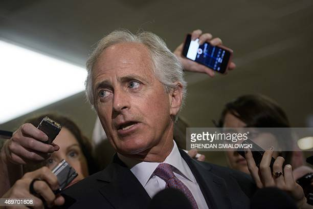 Senator Bob Corker speaks with reporters after a meeting with US Secretary of State John Kerry and other Senators on Capitol Hill April 14 2015 in...