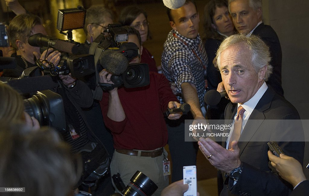 US Senator Bob Corker (R-TN) steps out of the Republican Senate Caucus and makes brief remarks to the media December 31, 2012 regarding progress on the fiscal cliff. The US House of Representatives will not vote on December 31, 2012 on an 11th-hour proposal to prevent the country from tottering over the so-called 'fiscal cliff,' a senior Republican source told AFP. AFP PHOTO / Paul J. Richards