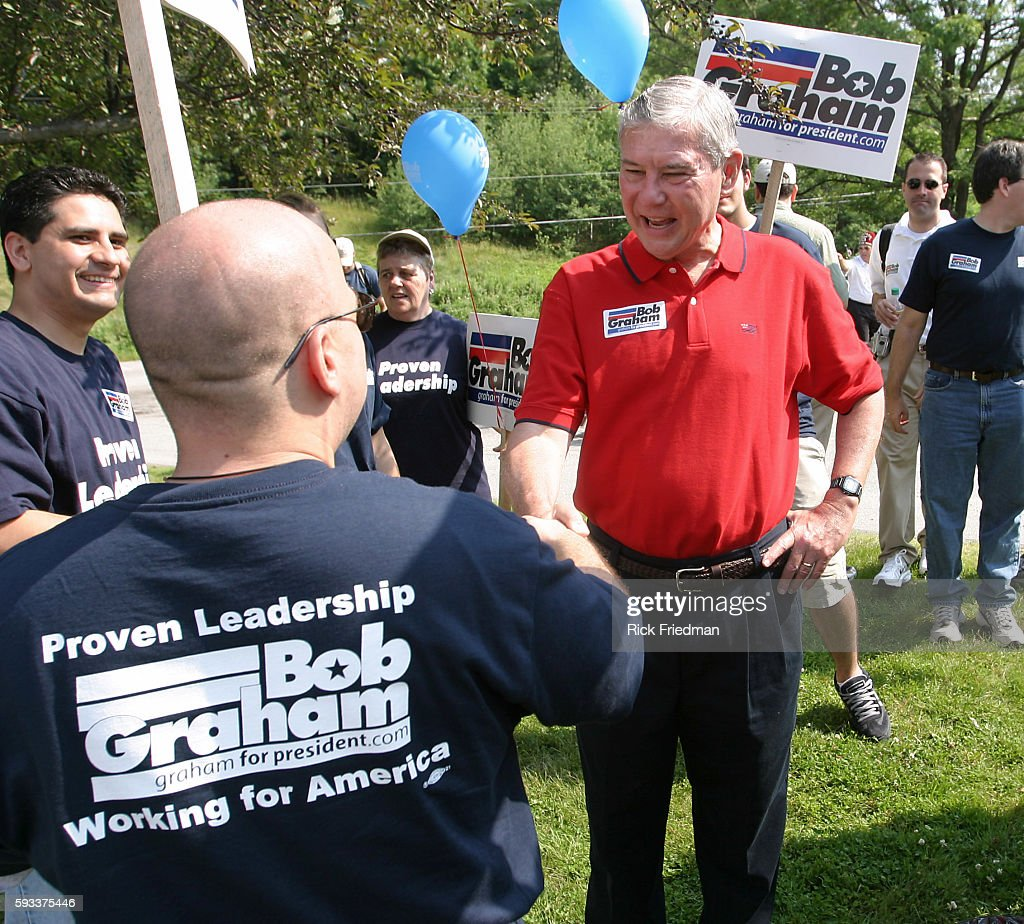 Senator Bob Graham campaigning for president during the July 4th parade in Amherst | Location Amherst New Hampshire United States