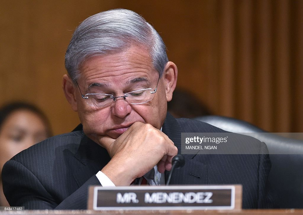 Senator Bob Menendez (D-NJ) attends the Senate Foreign Relations Committee hearing on global efforts to defeat ISIS in the Dirksen Senate Office Building on Capitol Hill in Washington, DC on June 28, 2016. / AFP / Mandel NGAN