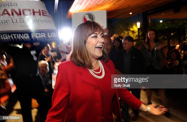 S Senator candidate congresswoman Loretta Sanchez greets supporters during election night at the Anaheim Brewery on June 7 2016 in Anaheim California...