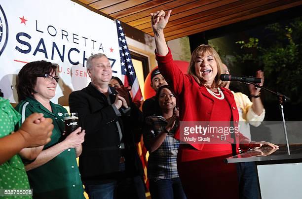 S Senator candidate congresswoman Loretta Sanchez waves to supporters during election night at the Anaheim Brewery on June 7 2016 in Anaheim...