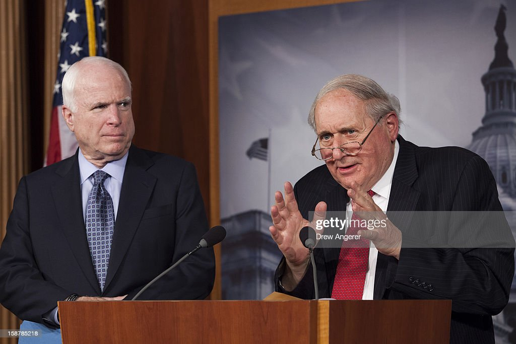Senator <a gi-track='captionPersonalityLinkClicked' href=/galleries/search?phrase=Carl+Levin&family=editorial&specificpeople=208878 ng-click='$event.stopPropagation()'>Carl Levin</a> (D-MI) (R) and Senator <a gi-track='captionPersonalityLinkClicked' href=/galleries/search?phrase=John+McCain&family=editorial&specificpeople=125177 ng-click='$event.stopPropagation()'>John McCain</a> (R-AZ) hold a news conference about filibuster reform on Capitol Hill December 28, 2012 in Washington, DC. Senators were back on Capitol Hill on Friday to try to deal with the 'fiscal cliff' issue before the year-end deadline.