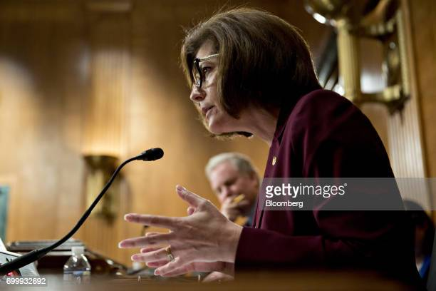 Senator Catherine Cortez Masto a Democrat from Nevada questions witnesses during a Senate Banking Committee hearing in Washington DC US on Thursday...