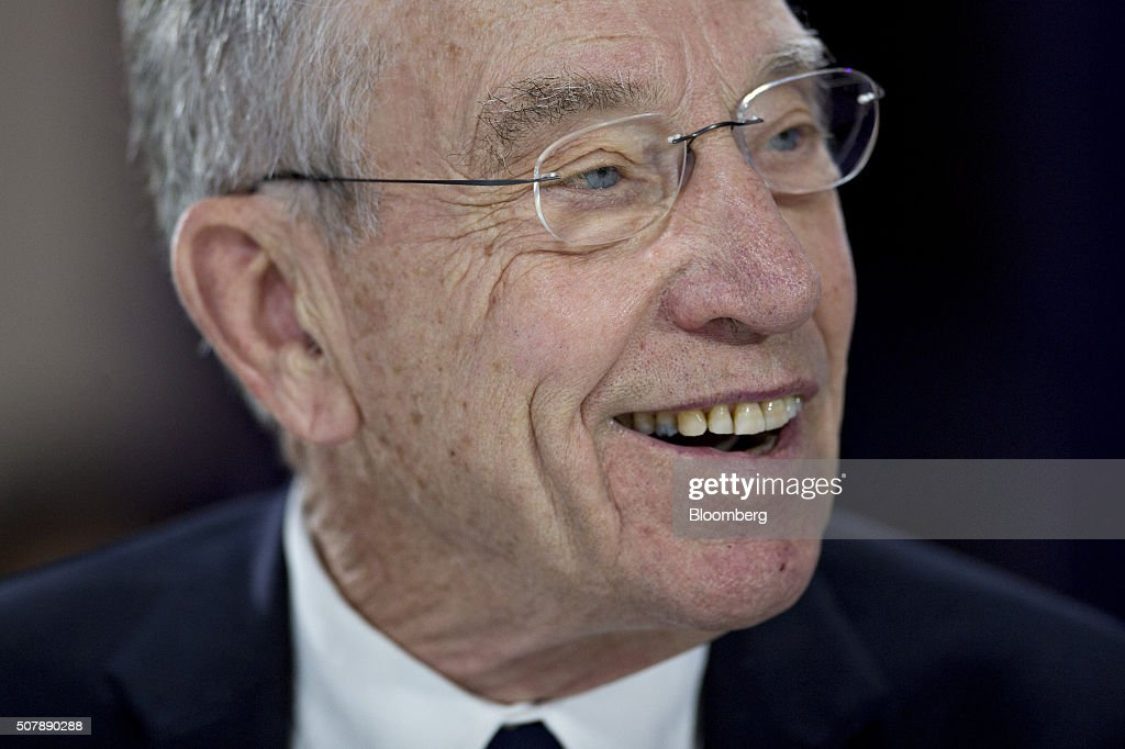 Senator Charles 'Chuck' Grassley, a Republican from Iowa, smiles during a Bloomberg Politics interview in Des Moines, Iowa, U.S., on Monday. Feb. 1, 2016. Grassley said Republican presidential front runner Donald Trump represents the unknown because he's a business leader, but has not been politically vocal except for the past several months.