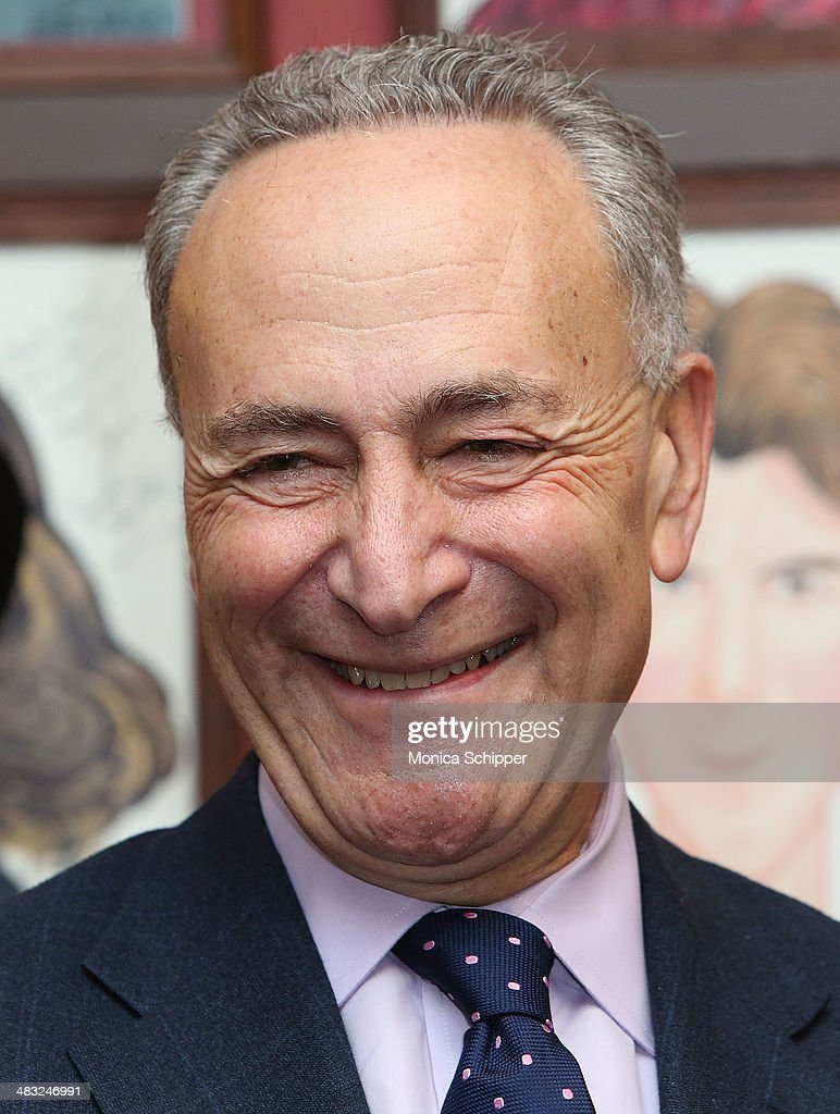 U.S. Senator Charles E. Schumer attends U.S. Senator Charles E. Schumer announces his campaign to give Broadway and live theater productions a major tax break that will encourage investment and spur job creation at Sardi's on April 7, 2014 in New York City.