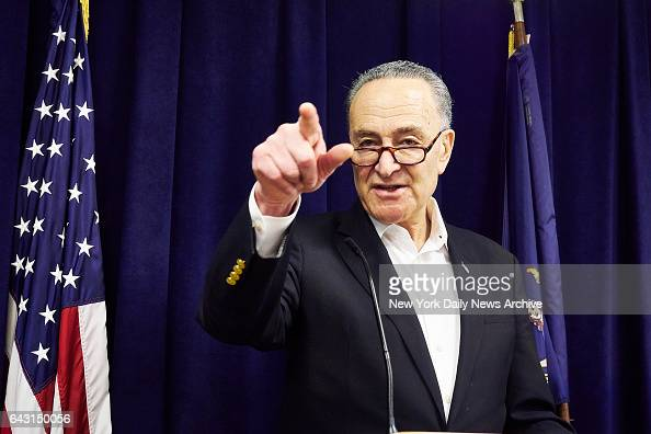 Senator Charles E Schumer speaks during a news conference on Sunday February 19 2017 in Manhattan NY Senator Schumer wants President Donald Trump to...