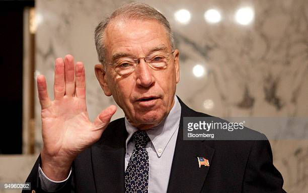 Senator Charles Grassley a Republican from Iowa arrives to a Senate Finance Committee markup session on health care revision in Washington DC US on...