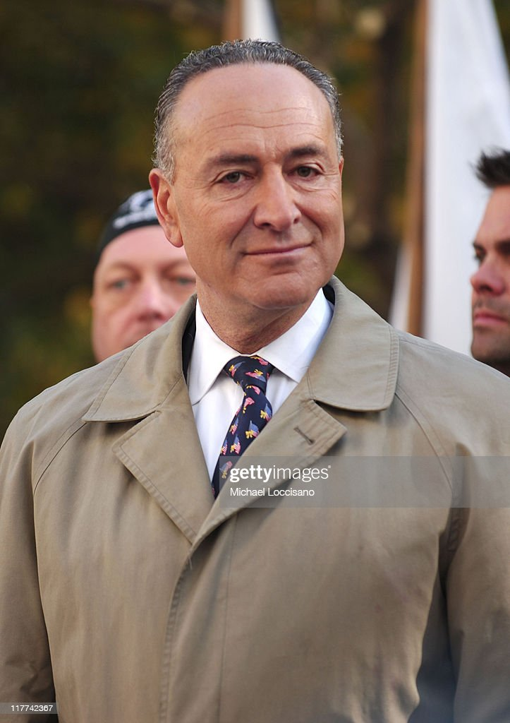 Senator <a gi-track='captionPersonalityLinkClicked' href=/galleries/search?phrase=Charles+Schumer&family=editorial&specificpeople=171249 ng-click='$event.stopPropagation()'>Charles Schumer</a> during Country Takes New York City - Veterans Day Ceremony - Montgomery Gentry Performance at Madison Square Park in New York City, New York, United States.