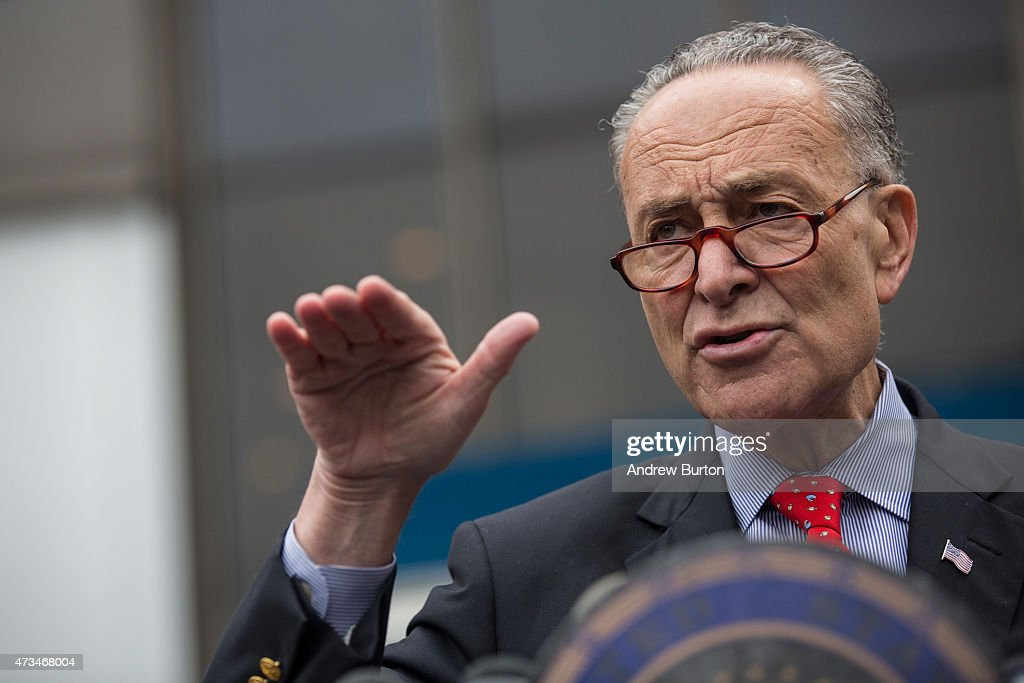 U.S. Senator <a gi-track='captionPersonalityLinkClicked' href=/galleries/search?phrase=Charles+Schumer&family=editorial&specificpeople=171249 ng-click='$event.stopPropagation()'>Charles Schumer</a> (D-NY) speaks at a press conference outside New York Penn Station calling for a greater funding and safety for U.S. railways on May 15, 2015 in New York City. The four point plan comes on the heels of an Amtrak train accident outside Philadelphia that killed 8 people and injured more than 200 others.