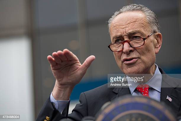 S Senator Charles Schumer speaks at a press conference outside New York Penn Station calling for a greater funding and safety for US railways on May...