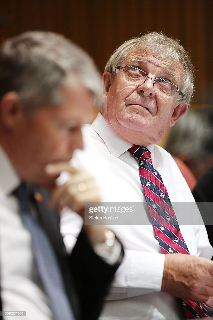 Senator Chris Back during the Foreign Affairs, Defence and Trade Committee hearing on February 10, 2016 in Canberra, Australia.