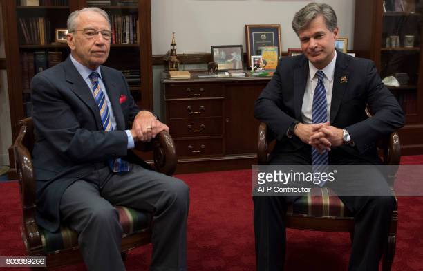 US Senator Chuck Grassley Republican of Iowa meets with the nominee for FBI Director Christopher Wray on Capitol Hill in Washington DC June 29 2017 /...