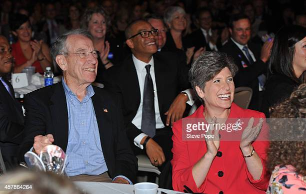 S Senator Chuck Grassley shares a laugh with Republican Candidate from Iowa for US Senate Joni Ernst at a Birthday Bash for Gov Terry Branstad...